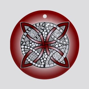 Red Celtic Knot Doodle Round Ornament