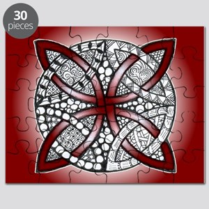 Red Celtic Knot Doodle Puzzle