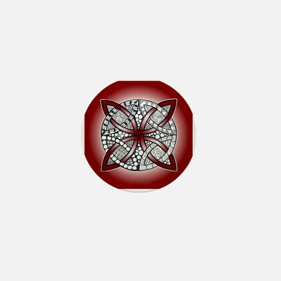 Red Celtic Knot Doodle Mini Button