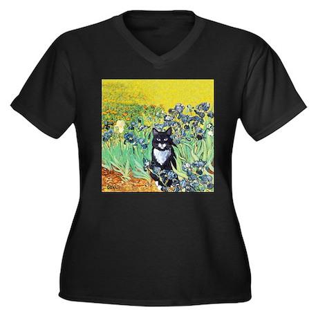 Irises & Cat Women's Plus Size V-Neck Dark T-Shirt