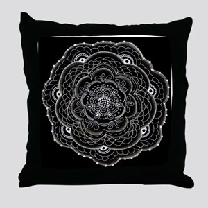 Lace doily ornamental flower drawing Throw Pillow