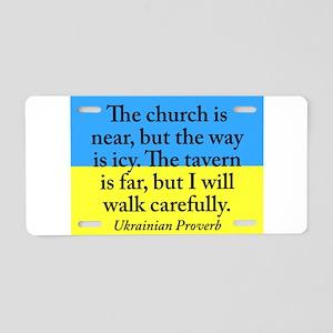 The Church Is Near Aluminum License Plate