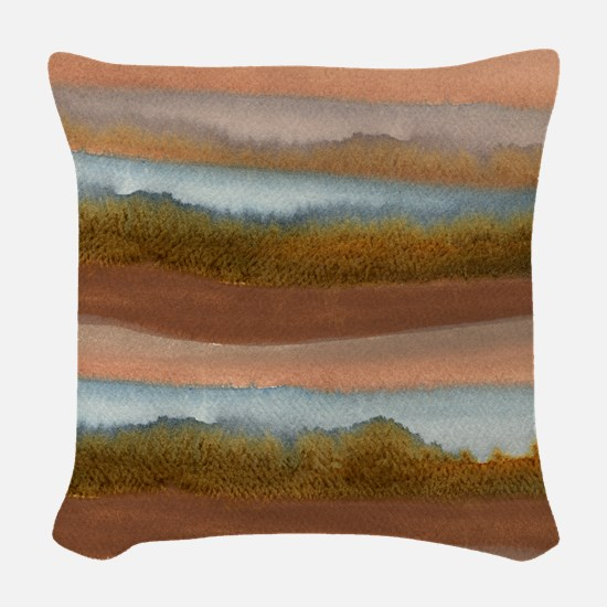 Copper Abstract Woven Throw Pillow