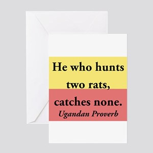 He Who Hunts Two Rats Greeting Card