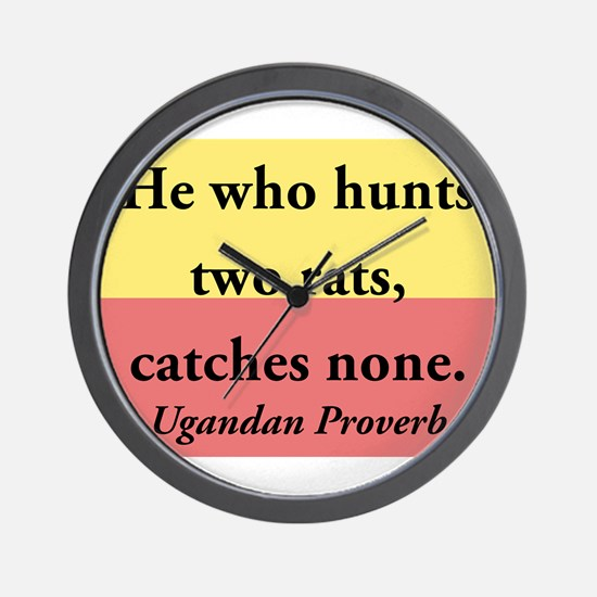 He Who Hunts Two Rats Wall Clock