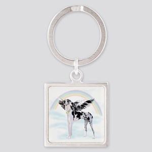 Harlequin Great Dane Angel RB Square Keychain