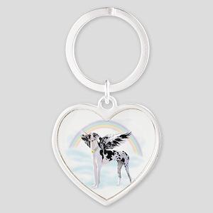 Harlequin Great Dane Angel RB Heart Keychain