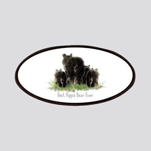 Best Poppa Bear Fun Dad Quote Black Art Patches