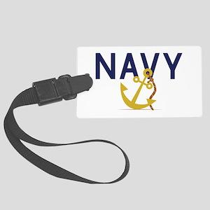 Navy Anchor Luggage Tag