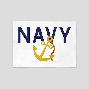 Navy Anchor 5'x7'Area Rug