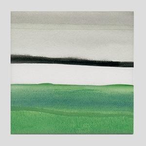 green & black abstract Tile Coaster
