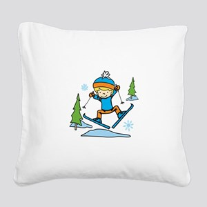 Boy Skiing Square Canvas Pillow