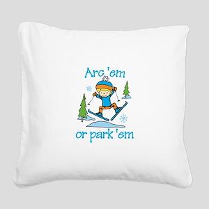 Arc Em or Park'em Square Canvas Pillow