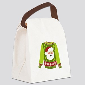 Santa Sweater Canvas Lunch Bag