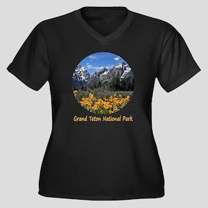 Grand Teton Women's Plus Size Dark V-Neck T-Shirt
