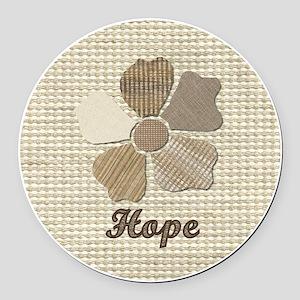 Hope Canvas Fabric Flower in Neut Round Car Magnet