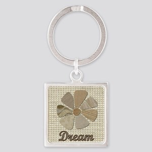 Dream Inspirational Fabric Flower Square Keychain