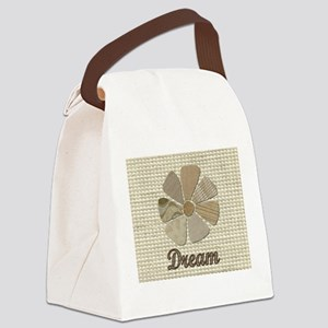 Dream Inspirational Fabric Flower Canvas Lunch Bag