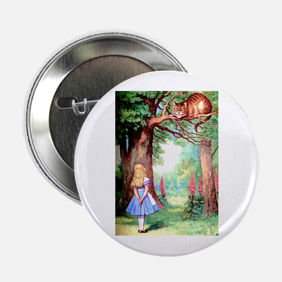 """Alice and the Cheshire Cat 2.25"""" Button"""