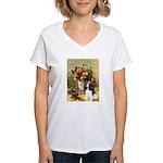 Flowers & Tri Cavalier Women's V-Neck T-Shirt