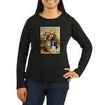 Flowers & Tri Cavalier Women's Long Sleeve Dark T-