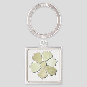 White Monochromatic Fabric Flower Square Keychain