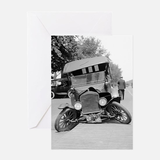 Crashed Ford Model T Greeting Cards