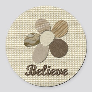 Believe Fabric Inspirational Coll Round Car Magnet