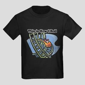 How I Roll (Roller Coaster) Kids Dark T-Shirt