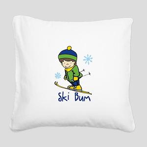 Ski Bum Square Canvas Pillow