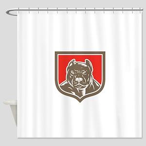 Pitbull Dog Mongrel Head Shield Woodcut Shower Cur