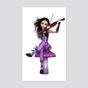 Amethyst Fairy and Violin Sticker (Rectangle)