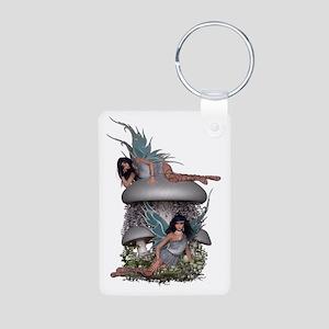 Silver Fairies on Mushroom Aluminum Photo Keychain