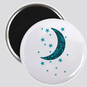 Cyan Blue Moon Stars Flowers Magnets