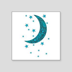Cyan Blue Moon Stars Flower Sticker