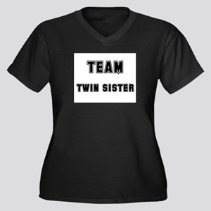 TEAM TWIN SISTER Women's Plus Size V-Neck Dark T-S