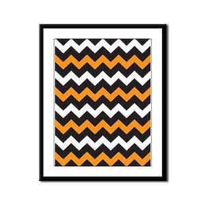 Black Orange And White Chevron Framed Panel Print