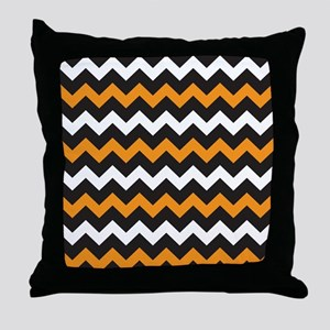 Black Orange And White Chevron Throw Pillow
