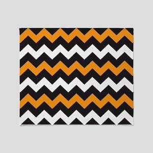 Black Orange And White Chevron Throw Blanket