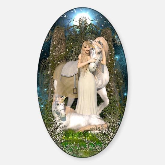 Princess of Unicorns Sticker (Oval)