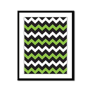 Black Green And White Chevron Framed Panel Print