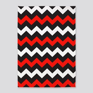 Black Red And White Chevron 5'x7'Area Rug