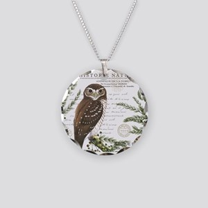 modern vintage French winter woodland owl Necklace