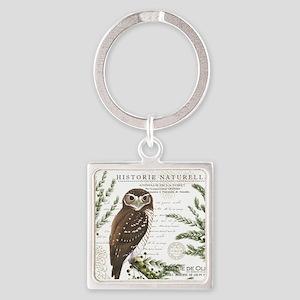 modern vintage French winter woodland owl Keychain