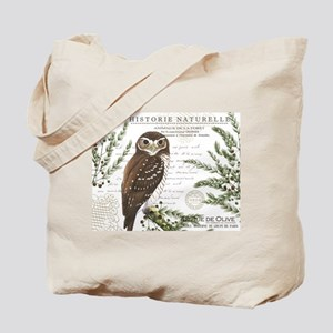 modern vintage French winter woodland owl Tote Bag
