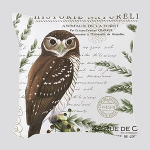 modern vintage French winter woodland owl Woven Th