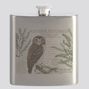 modern vintage French winter woodland owl Flask