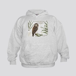 modern vintage French winter woodland owl Hoodie