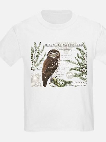 modern vintage French winter woodland owl T-Shirt