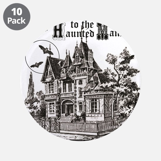 "vintage Halloween haunted house 3.5"" Button (10 pa"